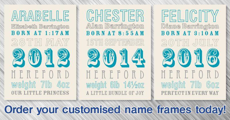 Customised Name Frames - barringtonprint 01568 616443 - Barrington ...